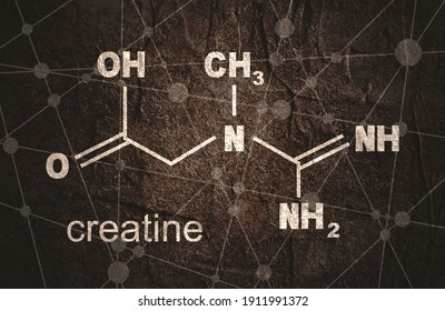 Chemical formula of creatine. Lines and dots connected background