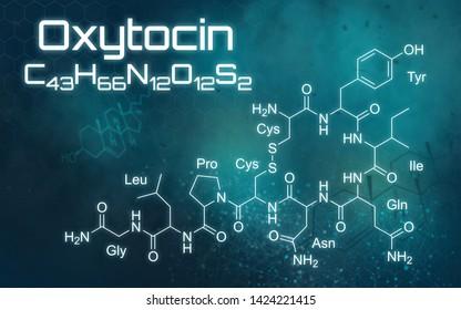 Chemical formula of Oxytocin on a futuristic background