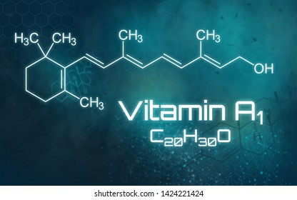 Chemical formula of Vitamin A1 on a futuristic background