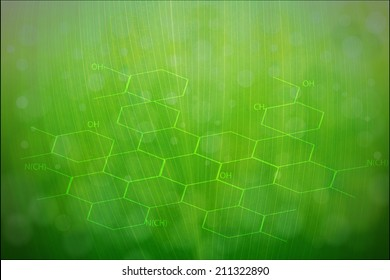 Chemical formulas & green ecology radial background