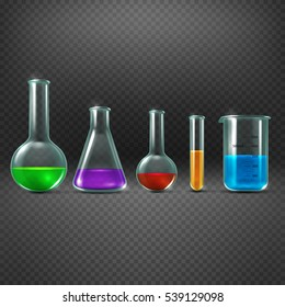 Chemical laboratory with chemicals in test tube equipments illustration. Beaker with color sample substance