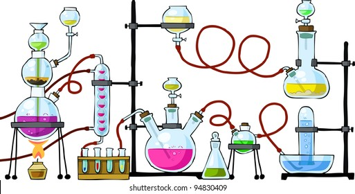The chemical laboratory on a white background, raster