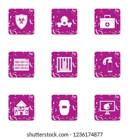 Chemical safeguard icons set. Grunge set of 9 chemical safeguard icons for web isolated on white background