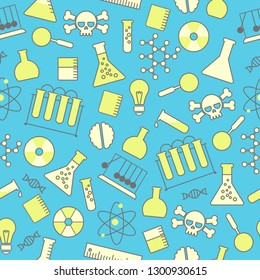 chemical seamless pattern, chemical laboratory supplies seamless pattern, flask and test tube and beaker. bitmap