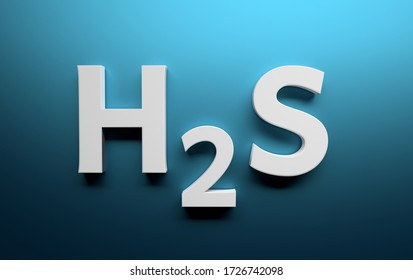 Chemical structure of hydrogen sulfide written in white bold letters on blue background. 3d illustration.