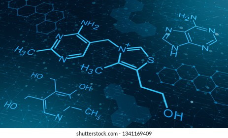 chemical structures on abstract background, concept of science and technology (3d render)