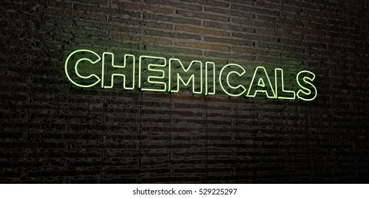 CHEMICALS -Realistic Neon Sign on Brick Wall background - 3D rendered royalty free stock image. Can be used for online banner ads and direct mailers.