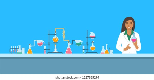 Chemist in chemical laboratory. Flat background.  Cartoon horizontal banner. Indian woman scientist in white coat holds flask with new medicine near pharmaceutical equipment. Medical research