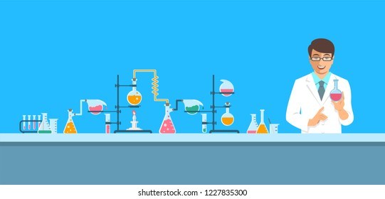 Chemist in chemical laboratory. Flat background.  Cartoon horizontal banner. Man scientist in white coat holds flask with new medicine near pharmaceutical equipment. Medical research concept