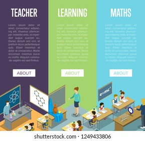 Chemistry, arts and maths lessons at school isometric posters. Children sitting at table in classroom and studying, teacher near blackboard illustration. Primary school education 3D concept.