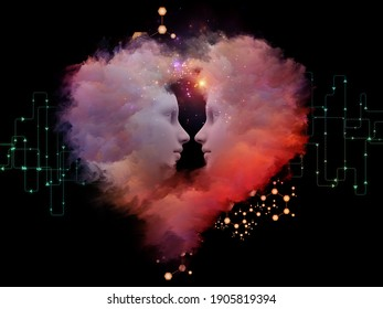 Chemistry Between Us. Couples faces surrounded by abstract molecular structure, network elements and heart-shaped fractal clouds on subject of love and artificial intelligence.