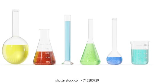 Chemistry flasks with colored liquid on white background. Science chemistry concept. Laboratory test tubes and flasks with colored liquids 3D rendering