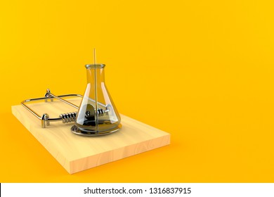 Chemistry flasks with mousetrap isolated on orange background. 3d illustration