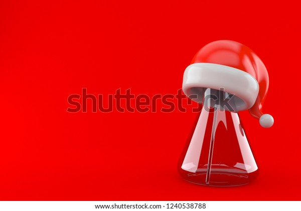 Chemistry flasks with santa hat isolated on red background. 3d illustration