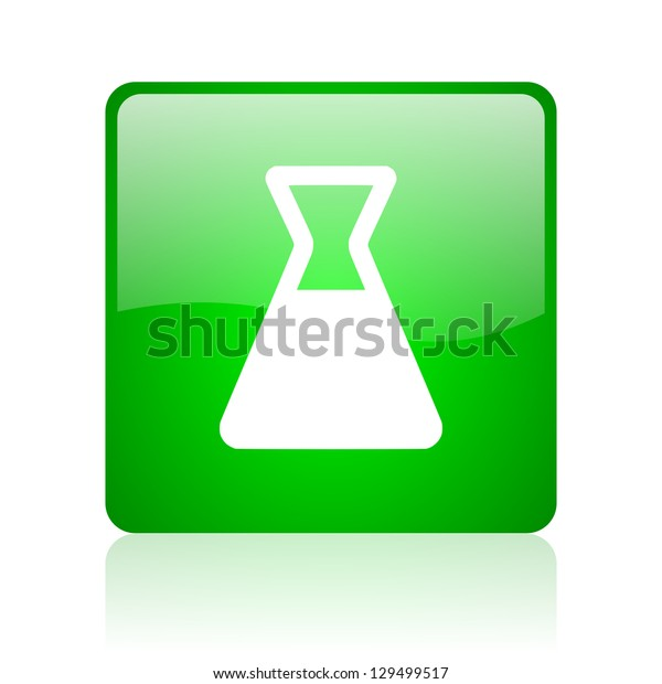 chemistry green square web icon on white background