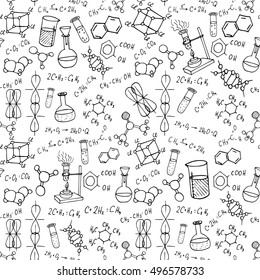 chemistry hand drawn doodles background. science illustration