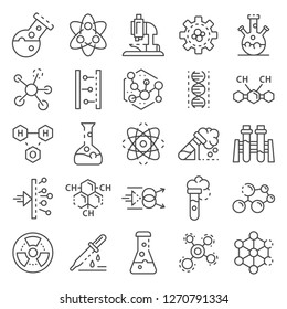 Chemistry lab icon set. Outline set of chemistry lab icons for web design isolated on white background