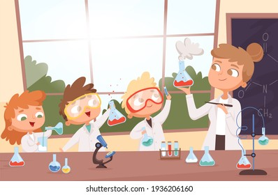 Chemistry lesson. Little science kids boys and girls making researching tests in school lab background illustration cartoon