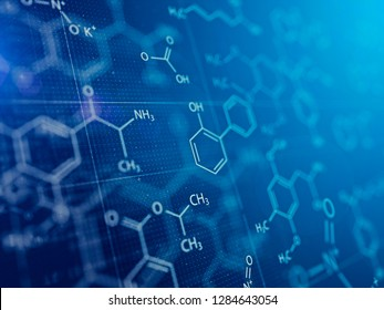 Chemistry and Medical abstract blue background . 3d rendering
