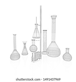 Chemistry set, with test tubes, and beakers filled with liquids. Pencil drawing. 3D illustration