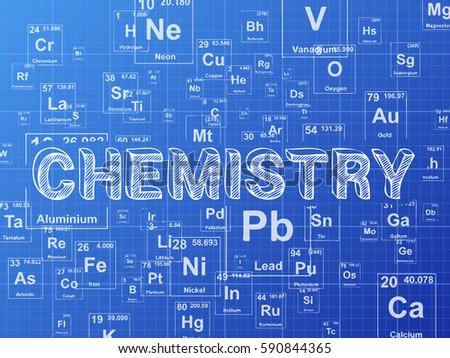 Chemistry Word On Periodic Table Symbols Stock Illustration
