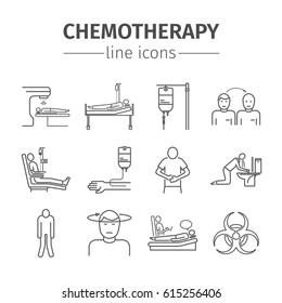 Chemotherapy line icons set. Medicine infographics. Side effects of chemotherapy.