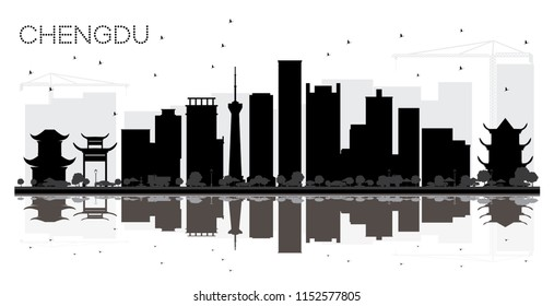 Chengdu China City skyline black and white silhouette with Reflections. Simple flat concept for tourism presentation, banner, placard or web site. Chengdu Cityscape with landmarks.