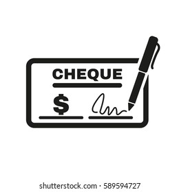 Cheque icon. Bank and finance, pay symbol. Flat design. Stock -  illustration
