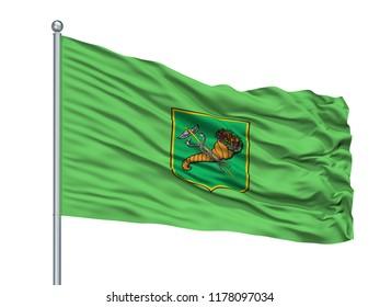 Chernihiv Oblast City Flag On Flagpole, Country Ukraine, Isolated On White Background