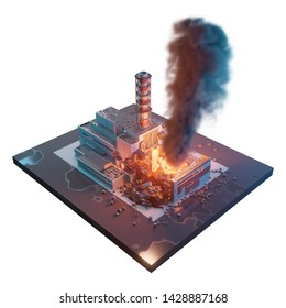 Chernobyl nuclear power plant. Chernobyl disaster catastrophe. 3d isometric illustration isolated on white background.