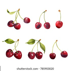 Cherries watercolor illustrations set