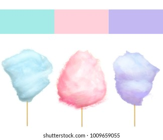 Cherry bilberry and blueberry cotton candies  illustrations isolated on white. Sweet tasty desserts for children in graphic design