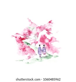 Cherry Blossom In Asia. Beautiful Background With Blossom Garden. Watercolor flowers.