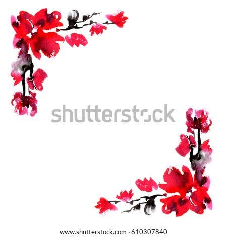 c71e26b4cd51 Cherry blossom border. Japanese floral background with blooming red  flowers. Flowers spring - Japanese
