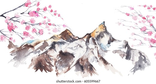 Cherry blossom with mountain background. Watercolor painting isolated on white background.