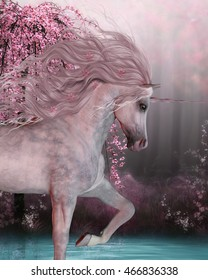 Cherry Blossom Unicorn 3D Illustration - The Unicorn horse is a mythical creature with a horn on it's forehead and cloven hoofs and lives in the magical forest.