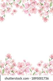 Cherry blossom watercolor frame spring illustration