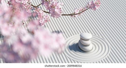 Cherry blossoms and stone balance on zen garden pure white background.for product presentation,posters, brochure,banners.3d rendering illustration