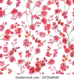 Cherry blossoms, watercolor pattern. Seamless pattern on a white background.For textiles, illustration, fashion, texture, Wallpaper, decoration,scrapbooking, background, printing.