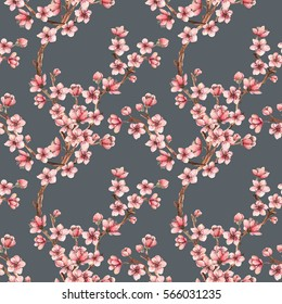 Cherry blossom,spring flowers watercolor illustration,branches, flowers,card for you,handmade,seamless pattern,dark background