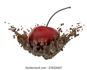 Cherry and chocolate splash