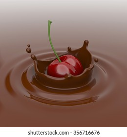 Cherry falling in chocolate.