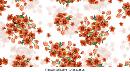 Cherry flowers pattern on white background