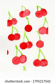 Cherry painting with water color