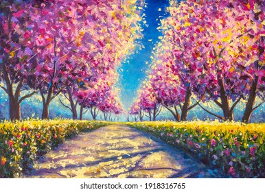 cherry sacura blossom alley painting. sacura park Oil Painting landscape.