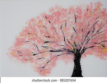 Cherry tree blossom, springtime symbol, original artwork