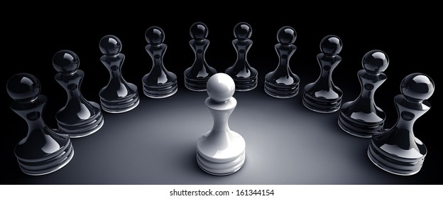 Chess background central figure - white pawn 3d illustration. high resolution