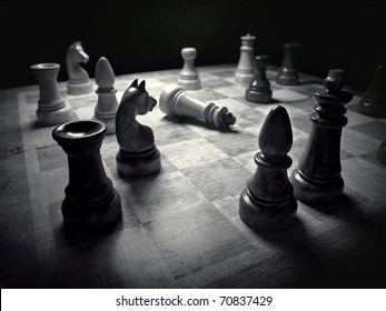 Chess board black & white 3d rendering