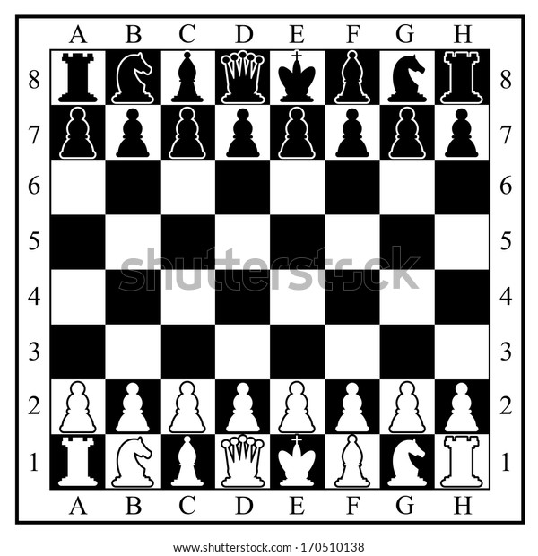 Chess board with chess pieces.  illustration.