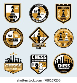 Chess club labels. Business strategy logos and emblems. Game chess logo tournament and championship illustration